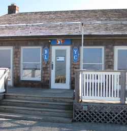 the front door and steps of the Barnegat Light Yacht Club