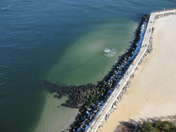 an aerial view of the jetty and Barnegat Light walkway